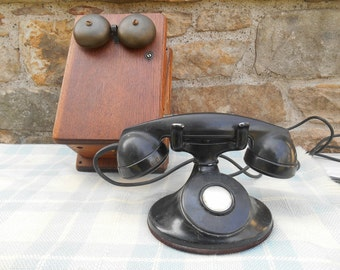 Antique Crank Telephone with Wood Wall Box with Brass Bells Old Black Receiver Phone Bell System Made by Western Electric Photo Prop