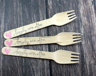 Happily Ever After, Wedding, Bridal Shower, You Pick Colors and Utensil Type, 25 Hand Stamped Wooden Forks Spoons Knives Utensils Silverware