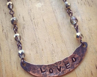 Valentine's Day Hand Stamped Loved Necklace with Crystal Marea