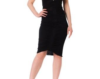 1980s Gucci Black Bodycon Structured Mini Dress SIZE: XS, 2