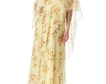 1970s Yellow Floral Chiffon Flowy Maxi Dress SIZE: S/M, 4-6