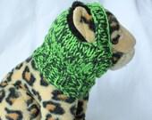 SMALL Basic Two-Tone SnugABull Dog Snood with Ribbed Collar & Ear Holes - Greens