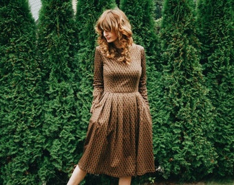 Chocolate Brown Floral Dress - Autumn Dress - Long Sleeved Dress - Midi dress in Floral- Women Dress - Handmade by OFFON