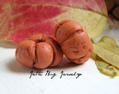 Pumpkin minis- polymer clay bead pair. pumpkin orange. burnt orange. whimsical fall beads. rustic spacer beads. Jettabugjewelry