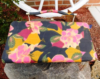 Vintage Silk Shantung Floral Convertible Clutch Purse - 1960's - from DustyMillerAntiques