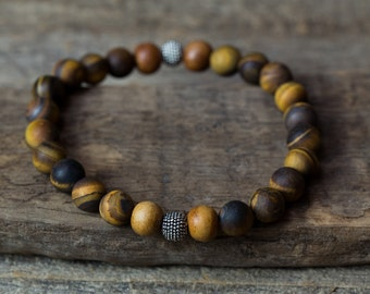 Tigers Eye Bracelet, Mala Bracelet, Mens Bracelet, Gifts for Him, Bracelet for Men, Boho Bracelets, Stretch Bracelets, Yoga Bracelets, Boho