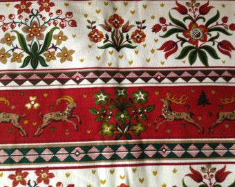 German Folk Art Textiles, Mid Century Cabin Chic Oktoberfest Holiday Decor