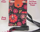 Cell Phone Wallet, Cross Body /Black and Orange, Cell Phone Wallet / Ready to ship