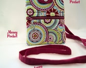 Cell Phone Wallet, Cross Body /Pink Abstract, Cell Phone  Wallet / Ready to ship