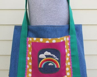 Denim Tote Bag  - Rainbow Purse - One of a Kind - Handmade Purse - Lined Tote Bag - Tote Bag with Pocket