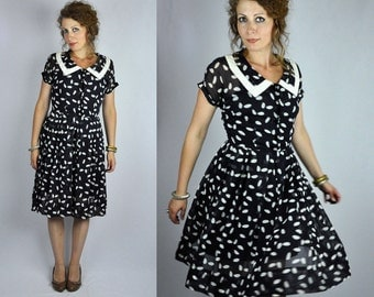 Vintage 40s 50s Dress - Polka Dots Dress - Pleated Dress - Nelly Don - Collared Dress - Cocktail Party Sheer Lightweight -Day Evening size S