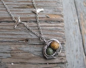 Two Bird Nest Necklace Yellow and Green Eggs, Bird Nest Necklace, Two Egg Nest Necklace, Bird Nest Pendant, Bird Nest for Two Kids