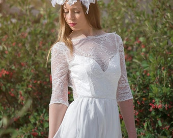 Wedding Dress Chantilly Lace Wedding Dress Airy Silk Chiffon Bridal Dress Long Wedding Dress Embroidered Lace Wedding Gown -SuzannaM Designs