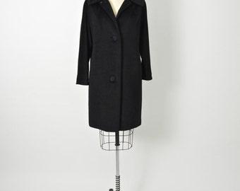Vintage 1950s 50s Lilli Ann Black Coat Mid Century Designer