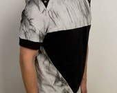 Hipster triangle t shirt with shoulder studs in black vintage and gray organic cotton