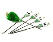 St. Patrick's Day Embellishment Pins, Set of 5, Decorative Straight Pins, Green and White, Luck of the Irish