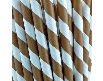 Brown and White Striped Paper Straws