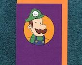 Luigi Mario Card Birthday Blank Nintendo Greeting Child Derpy Video Game