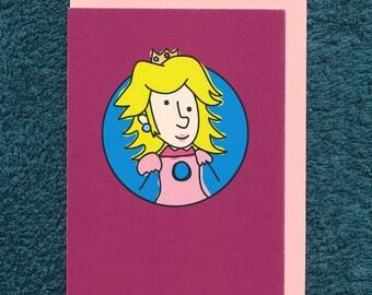 Princess Peach Mario Card Birthday Blank Nintendo Greeting Child Derpy Video Game