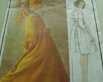 SALE Vintage 1960's Vogue 1690 Paris Original Yves Saint Laurent Dress Sewing Pattern, Size 14, Bust 34
