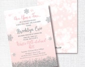 ONCE UPON A time winter onederland birthday invitation Winter One-derland ball invitation pink silver glitter snowflake 1st birthday invite