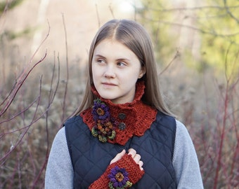 Floral Scarf in orange with purple Aster and burgundy, Orange Potted Mum, hand painted merino wool, READY to SHIP