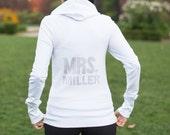 Personalized Rhinestone Bride Hoodie, Custom Bride MRS Zip Up Sweatshirt, Bride Shirt, Bling Mrs Hoodie,Custom Bridal Shower Gift