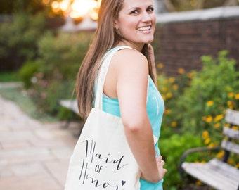 Maid of Honor Tote Bag - Natural Canvas - MOH Gift, Maid of Honor Gift, Wedding Tote Bags, Bridal Party Gift, Bridesmaid Gifts Totes