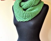 chunky knit infinity scarf/shawl in green soft wool, wide and long, warm and fun, for women and girls, colorful, gift idea