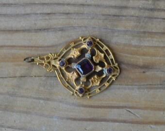 Pretty antique victorian edwardian gold gilt filigree pendant with amethyst purple stones /  VKKVUR