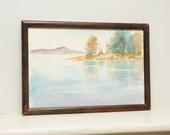 Original Painting Watercolor Mountain Lake Country Landscape Pennsylvania