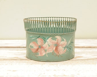 Vintage Tole Dresser Tissue Can Hand Painted Pink Flowers