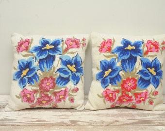 Needlepoint Throw Pillow Handmade Royal Blue Pink PAIR