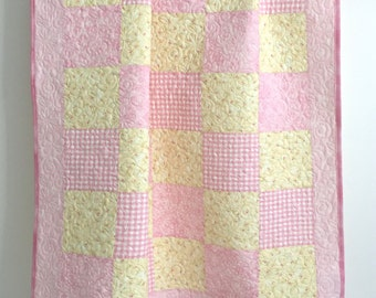 Adorable Patchwork Baby Girl Quilt Shades of Pink Yellow Floral and Gingham Prints