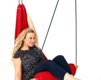 Special Patent Hanging Chair Hammock Swing for Indoor or Outdoor, Patio Lounge and Porch. Color Red Hang Basic Model SALE 129 instead of 139