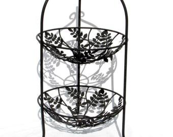 Two Tiered Black Metal Fruit Stand