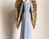 CHRISTMAS DECORATION ANGEL- Angel Marianne Tin and Wood Figurine - Heirloom Angels at Bourne Prints make great gifts!!
