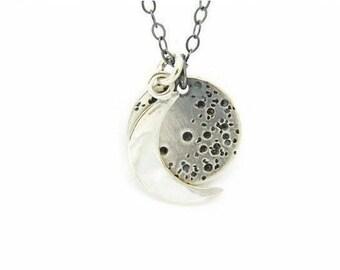 Moon Silver Necklace, Crescent Moon Necklaces, Full Moon Silver Necklace, Silver Jewelry, Silver Necklace, Moon Necklace, Silver Moon