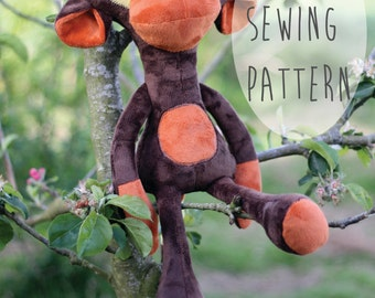 Monkey Sewing pattern soft toy, PDF instant download - Sewing project