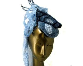 Unusual Hat in Indigo Blue - Felt Fascinator with Silk Veil - Graceful Ren Faire Princess Hat for Woman - Retro Rocket