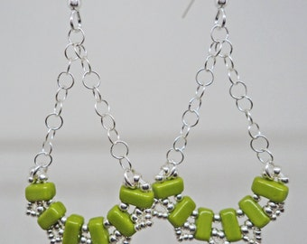 Olive and Silver Tone Dangle Earrings