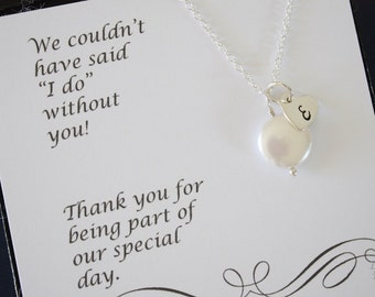 2 Bridesmaid Monogram Necklace, Personalized Necklace, Initial & Pearl Sterling Silver, Thank You Card, Bridesmaid Gift, Heart Shape