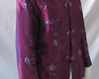 Asian embroidered Jacket Maroon/Purple/ Lilac frog buttons Iridescent 4X