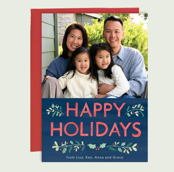holiday photo cards with watercolor happy holidays christmas photo