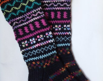 Hand Knit Colorful Socks-Womens Wool  Soks-Long Socks-Size Medium-US W 7-7,5 EU 38