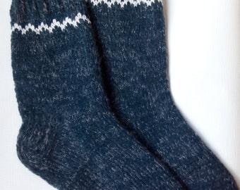 Men Wool Socks -Hand Knitted Wool Socks -Colorful for Men - Size Medium-US W9,5-10 EU43 -House Wool Socks
