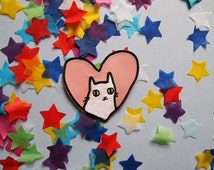 Iron on patch - Cat patch - sew on patch - cat embroidered patch - cat iron on patch - I like cats - cat face - cat gift - cat accessories
