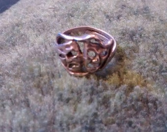 Comedy Tragedy Ring  Sterling Silver Size 4  1950 s
