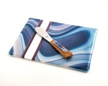 Fused Glass Tray, Large Serving Platter, Cheese Board Set, Matching Cheese Knife, Blue Kitchen Accessories, Serve-Ware, Unique Hostess Gifts