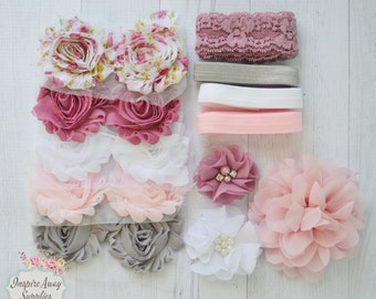 Vintage Pink Shabby Chic headband kit, baby shower headband kit, DIY baby headbands, headband station, shabby chic baby headbands